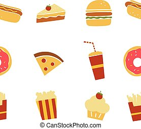 seamless fastfood restaurant theme pattern vector art...