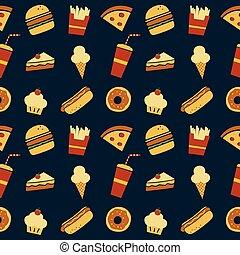 seamless fastfood restaurant theme pattern vector art...