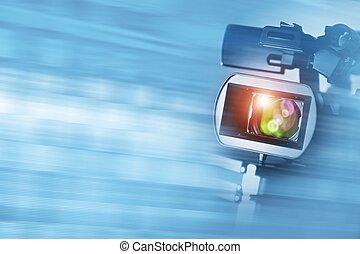 Video Documentary Background with Digital HD Camcorder and...
