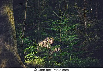 Hiding Poacher in Deep Forest - Hiding Poacher with Rifle in...