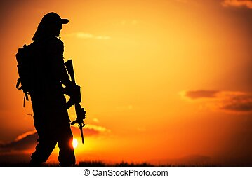 Soldier on Duty - Call of Duty Military Concept with Soldier...