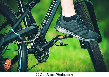 Outdoor Mountain Biking Closeup Photo.
