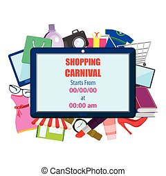 Shopping Carnival Sale Poster - vector illustration of...