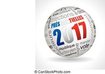 French presidential election theme sphere with keywords