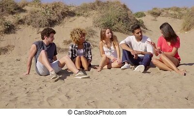 Young People Sitting On The Beach. - Group of five...