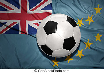black and white football ball on the national flag of Tuvalu...