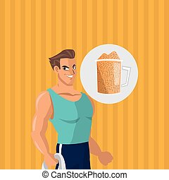 Healthy lifestyle. cartoon man design.  bodybuilding concept