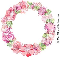 Gentle Vector Floral Wreath - Circle frame made of sketch...