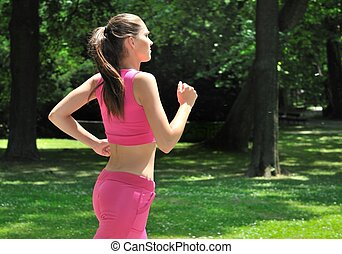 Young person running outdoors - Young person woman running...