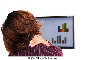 Neck pain - detail - Business person with neck pain behind...