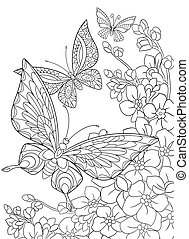 Hand drawn butterflies and flowers - Hand drawn stylized...