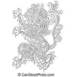 Hand drawn stylized wild lion - Hand drawn stylized cartoon...