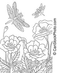 Hand draw stylized dragonfly insect - Hand drawn stylized...