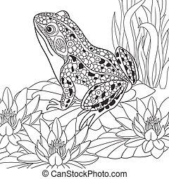 Hand drawn stylized frog - Hand drawn stylized cartoon frog...