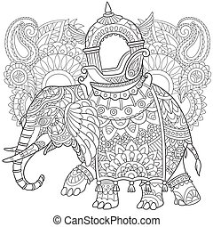 Hand drawn stylized elephant - Hand drawn stylized cartoon...