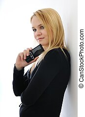 Blond teenage girl with cell phone