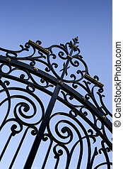 Wrought iron gate - Stylish wrought iron gate of a French...