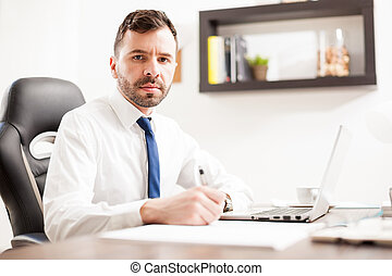 Attractive Latin attorney at work - Portrait of a good...