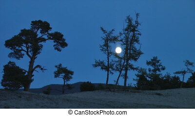Full Moon Night Sky at Lake Baikal.