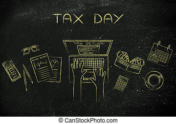 user filing his tax retun online, caption tax day - tax day:...