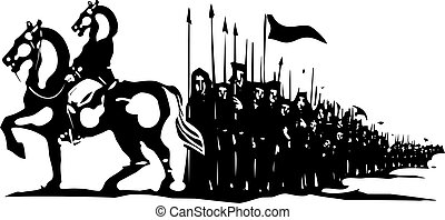 Horse Army March - Woodcut style expressionist image of a...