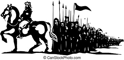 Kings Army March - Woodcut style expressionist image of an...