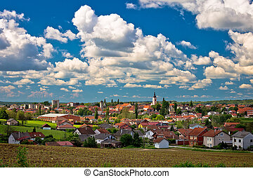 Town of Krizevci cloudy skyline, region of Prigorje, Croatia