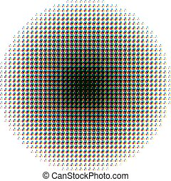 Round halftone screen pattern in CMYK colours on white