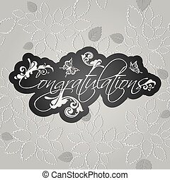 Congratulations floral swirls on seamless leaves pattern...