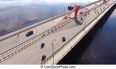 HD - Bikers marathon across the bridge