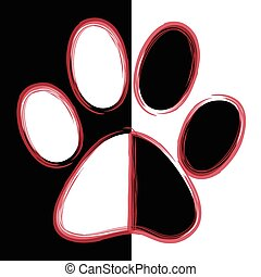 Paw Print - Print black paws on a white background