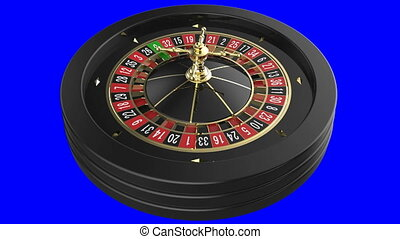 Casino Roulette Wheel isolated on blue background. 3D render