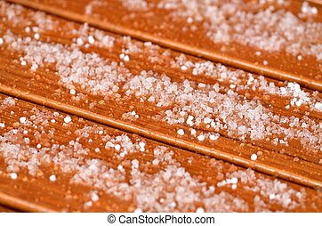 Hail on a wooden table - Close-up of hail on a wooden table