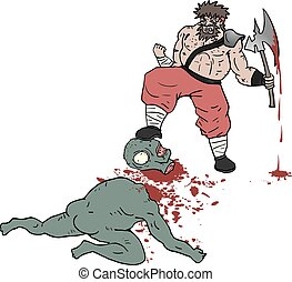 barbarian gore scene - Creative design of barbarian gore...