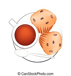 Coffee with Muffin Cakes on White Background - Coffee Break,...