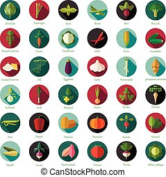 Set of flat round vegetable icons - Vector image of the Set...