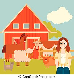 Farmer woman and animals banner