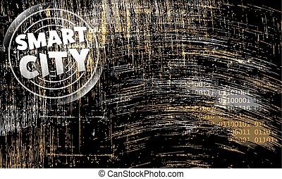 Vector abstract scratched background and smart city icon