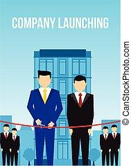 Company launching men cutting ribbon