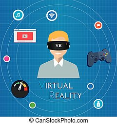 VR virtual reality playing game illustration