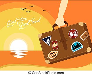 good places great  travel around the world illustration
