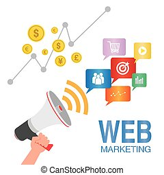 web marketing seo concept illustration with icons