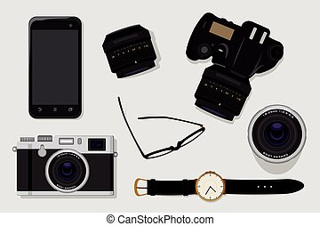 Professional photography equipment vector illustration top...