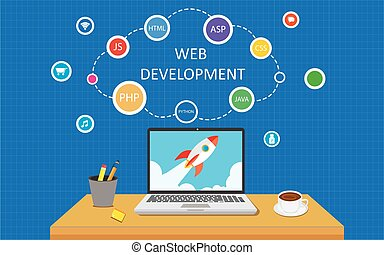 Web development programming infographic vector illustration...