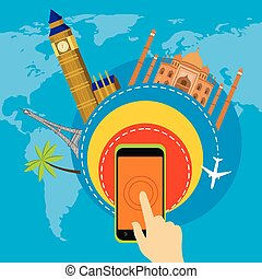 one click travel around the world illustration