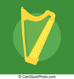 Silhouette of Celtic Harp with ornament on green background