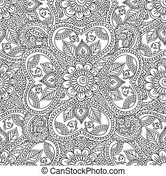 Coloring pages for adults. Seamles Henna Mehndi Doodles...