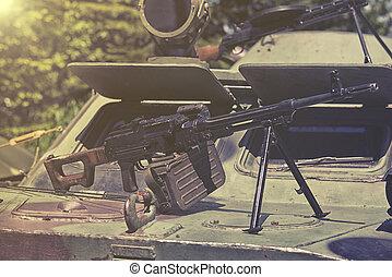pesado, máquina, arma,