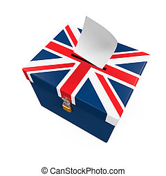 Ballot Box with United Kingdom Flag isolated on white...