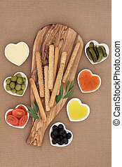 Crudites Selection - Crudites selection with bread sticks,...
